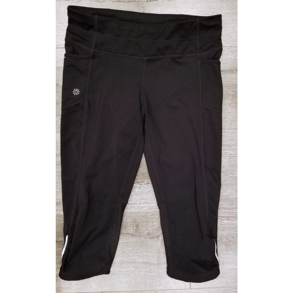 Athleta Pants - ATHLETA Black Capri Leggings with Reflective Trim